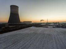 核电站日落日出辐射土壤环境 库存照片