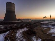 核电站日落日出辐射土壤环境 免版税库存图片