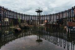 核电站能单位的被充斥的被破坏的被放弃的建筑  免版税库存图片