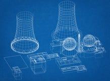 核电站-反应器建筑师图纸 库存例证