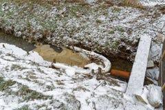 根据一台分离器的原则的临时简单,但是旋转的油障碍在一条小小河的 免版税库存图片