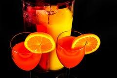 根据堪蓓莉开胃酒利口酒和橙汁的鸡尾酒,著名Itali 免版税库存照片
