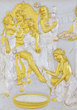 根据希腊语神话的石浅浮雕 免版税库存图片