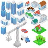 根据等角投影的工业三维房子、大厦、起重机,汽车和其他设计 向量例证