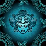 从根据艺术当地美洲印第安人动机的装饰元素的无缝的颜色样式  库存照片