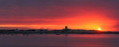 根西岛日落 库存图片