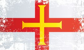 根西岛,海峡群岛旗子  起皱纹的肮脏的斑点 库存例证