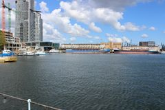 格丁尼亚,波兰-从码头的看法在海口 库存照片