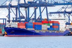 格丁尼亚 在端口的集装箱船 免版税库存图片