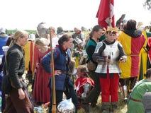 格伦瓦德之战的重建的骑士 库存照片