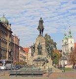 格伦瓦德之战纪念碑在克拉科夫,波兰 免版税库存图片
