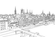 格但斯克市风景 手drawned传染媒介背景 黑白线艺术 免版税库存图片