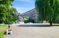 格但斯克有纪念纪念碑的城市广场 库存照片