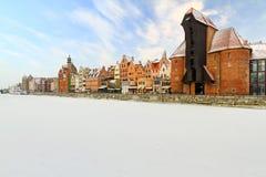格但斯克老城镇冬天 免版税库存图片