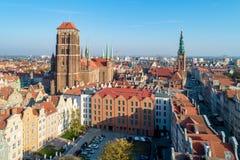 格但斯克老市,波兰 鸟瞰图 免版税图库摄影