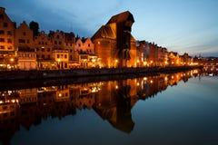 格但斯克老镇城市地平线黄昏的 免版税库存图片