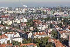 格但斯克老镇的鸟瞰图有市政厅的,波兰 免版税库存照片