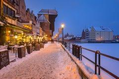 格但斯克老镇Motlawa河的在冬天,波兰 库存照片