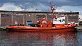 格但斯克船火在港口 图库摄影