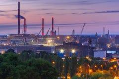 格但斯克造船厂在晚上,波兰 免版税库存照片