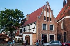 格但斯克,波兰- 2014年6月07日:在Podmlynska街道上的老大厦在格但斯克的历史部分 免版税库存图片