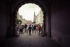 格但斯克,波兰- 2017年8月04日:在老镇的看法在格但斯克 库存照片