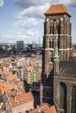 格但斯克,波兰- 2017年8月04日:在o的都市风景鸟瞰图 免版税库存照片
