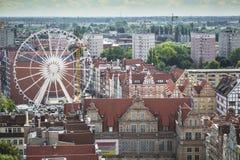 格但斯克,波兰- 2017年8月04日:在o的都市风景鸟瞰图 库存图片
