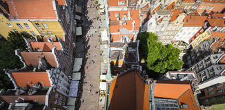 格但斯克,波兰- 2017年8月04日:在o的都市风景鸟瞰图 库存照片