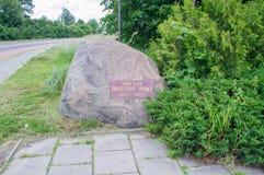 格但斯克,波兰- 2017年6月17日:垄沟100th周年的纪念碑在维斯瓦河的 免版税库存图片