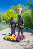 格但斯克,波兰- 2017年5月22日:教宗若望保禄二世和罗纳德Regan总统的罗纳德Regan公园的纪念碑在格但斯克Przymorze 免版税库存图片