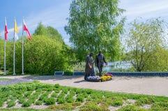 格但斯克,波兰- 2017年5月22日:教宗若望保禄二世和罗纳德Regan总统的罗纳德Regan公园的纪念碑在格但斯克Przymorze 免版税库存照片