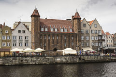 格但斯克,波兰- 8月04,2017 :在MotÅ 'awa河的都市风景 库存照片