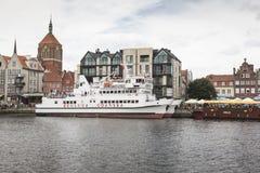 格但斯克,波兰- 8月04,2017 :在MotÅ 'awa河的都市风景 免版税库存照片