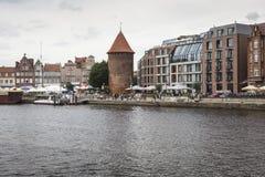 格但斯克,波兰- 8月04,2017 :在MotÅ 'awa河的都市风景 免版税库存图片