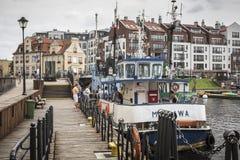 格但斯克,波兰- 8月04,2017 :维斯瓦河在历史的城市 免版税库存照片