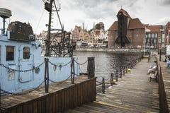 格但斯克,波兰- 8月04,2017 :MotÅ 'awa河在历史的城市 库存图片