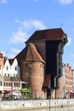 格但斯克,长的堤防街道,格但斯克,波兰中世纪口岸起重机  免版税库存图片