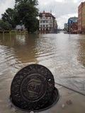 格但斯克- 7月15 :在大雨以后的被充斥的街道 库存图片