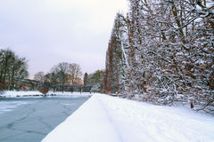 格但斯克Oliwa公园在冬天 免版税库存照片
