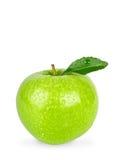 格兰尼史密斯苹果在与裁减路线的白色背景隔绝的苹果计算机 免版税库存图片