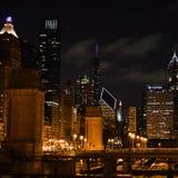 格兰特公园,芝加哥,在晚上 免版税库存照片