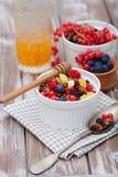 格兰诺拉麦片和新鲜的莓果 库存照片