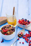 格兰诺拉麦片和新鲜的莓果 免版税库存照片