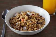 格兰诺拉麦片早餐碗 免版税库存照片