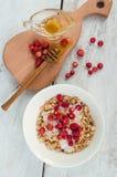 格兰诺拉麦片用酸奶和野草莓 库存图片