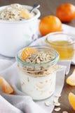 格兰诺拉麦片用酸奶 免版税库存照片