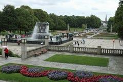 维格兰雕塑公园喷泉和风景,奥斯陆,挪威 免版税图库摄影