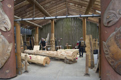 格兰维尔海岛木雕刻的车间 图库摄影