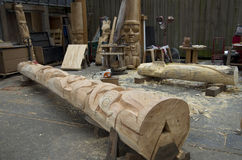 格兰维尔海岛木雕刻的车间 免版税库存图片
